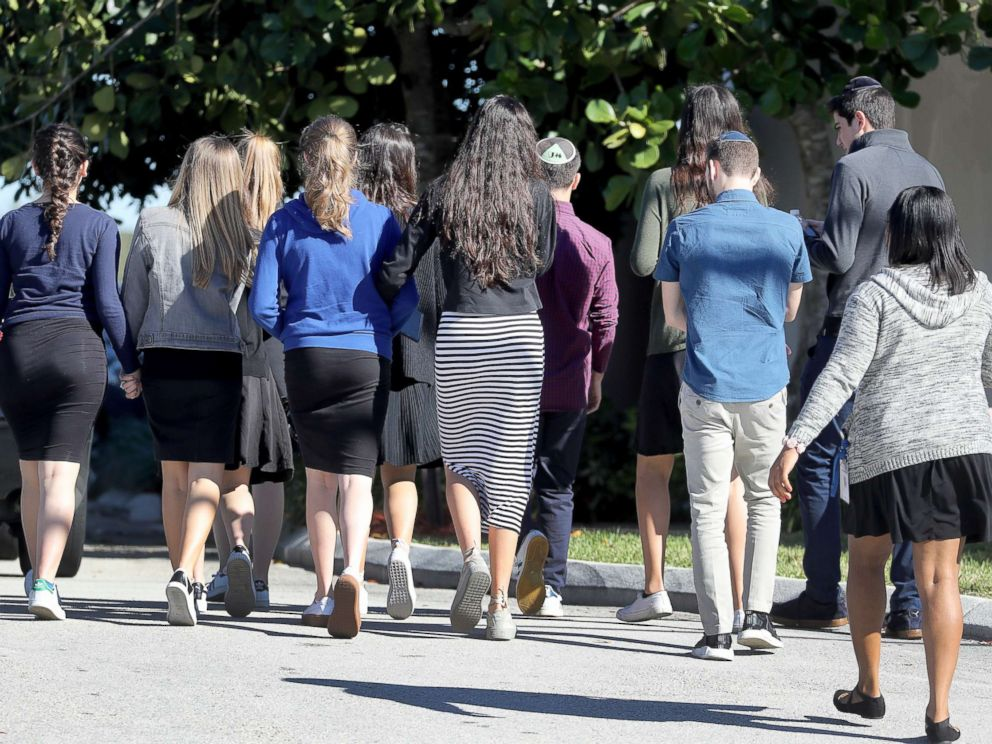 PHOTO: People arrive before a funeral service for Alyssa Alhadeff at the Star of David Funeral Chapel in North Lauderdale, Fla., Feb. 16, 2018. Alhadeff was one of the victims of Wednesday shooting at Marjory Stoneman Douglas High School.