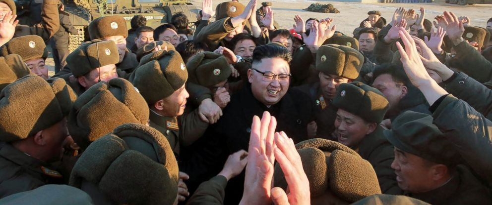 PHOTO: North Koreas official Korean Central News Agency (KCNA) shows North Korean leader Kim Jong-Un (C) surrounded by soldiers of the Korean Peoples Army as he inspects a long-range ballistic missile at an undisclosed location, Feb. 12, 2017.