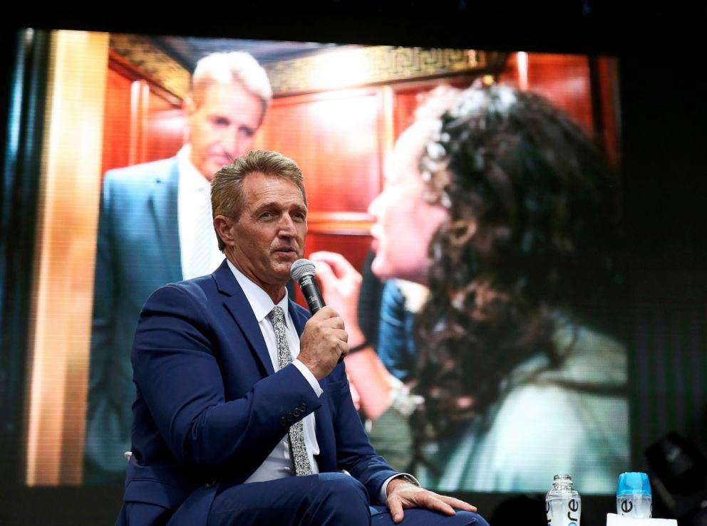 PHOTO: Sen. Jeff Flake speaks at the Forbes 30 Below 30 Summit, Monday, Oct. 1, 2018, in Boston.