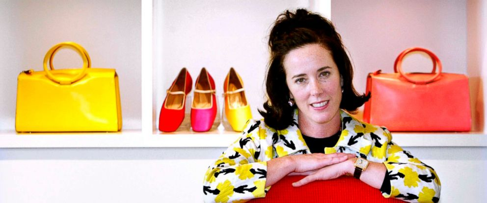 PHOTO: In this May 13, 2004 file photo, designer Kate Spade poses with handbags and shoes from her next collection in New York.