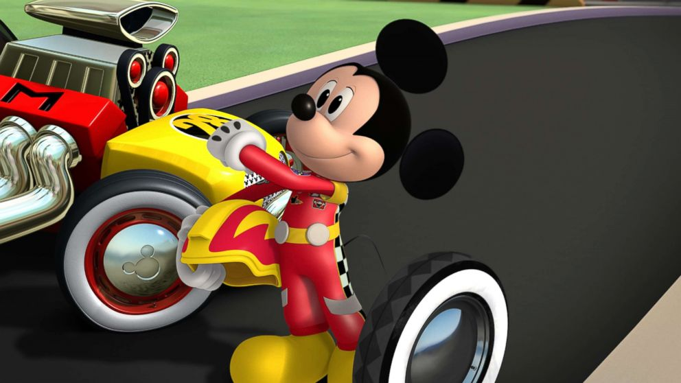 PHOTO: Mickey and the Roadster Racers - Mickeys Wild Tire! has Mickey Mouse trying to surprise racing champion Jiminy Johnson with a tire from his first roadster episode of on Disney Junior.