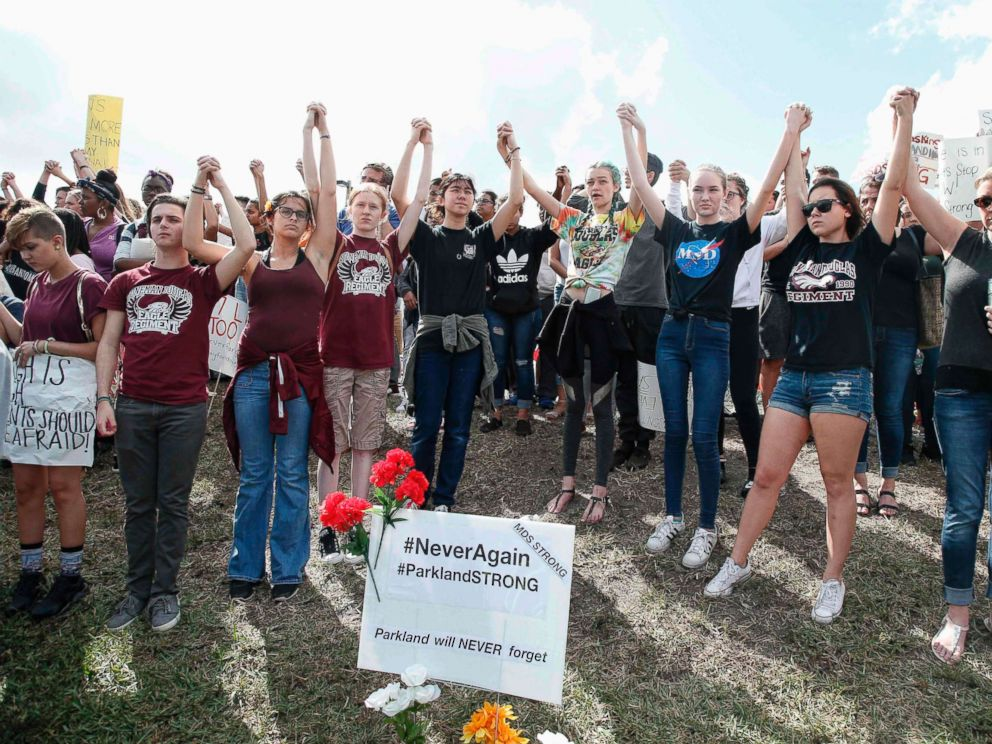 PHOTO: Students of area High Schools rally at Marjory Stoneman Douglas High School after participating in a county wide school walk out in Parkland, Fla., Feb. 21, 2018.