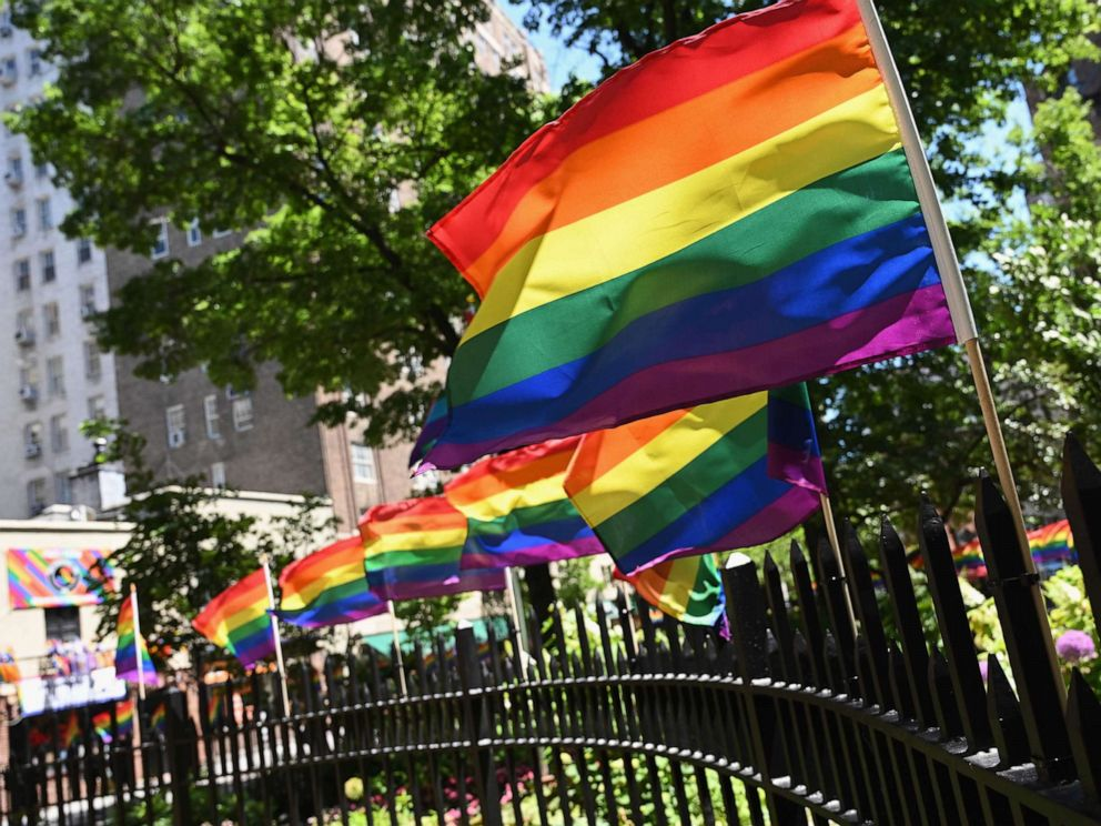 PHOTO: In this photo taken on June 4, 2019, rainbow flags are seen at the Stonewall National Monument in New York.