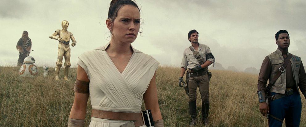 "PHOTO: Joonas Suotamo, Daisy Ridley, Oscar Isaac and John Boyega appear in a scene from ""Star Wars: The Rise of Skywalker."""