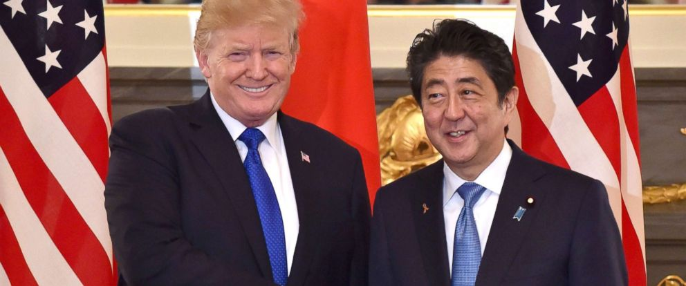 PHOTO: President Donald Trump shakes hands with Japanese Prime Minister Shinzo Abe before a summit meeting at Akasaka Palace in Tokyo, Nov. 6, 2017.