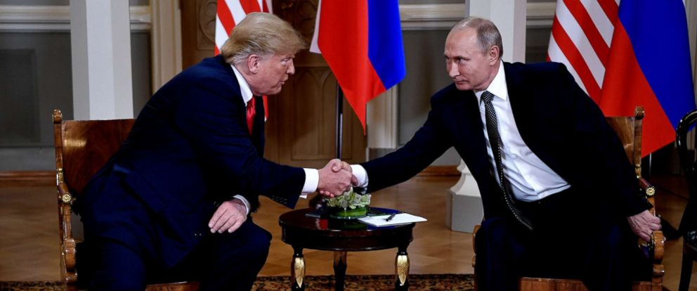 PHOTO: President Donald J. Trump and Russian President Vladimir Putin shake hands during their one-to-one meeting at the Presidential Palace in Helsinki, Finland, July 16, 2018.