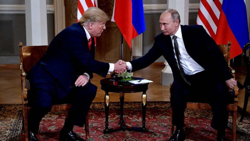 President Donald J. Trump and Russian President Vladimir Putin shake hands during their one-to-one meeting at the Presidential Palace in Helsinki, Finland, July 16, 2018.