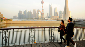 PHOTO Across the country, China is spending $100 billion on infrastructure, twice the amount President Obama has requested in the United States. The Shanghai skyline, with towering skyscrapers, was built in record time, just two decades.