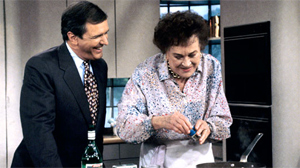 "PHOTO Gibson on the set of ""GMA"" with Julia Child."