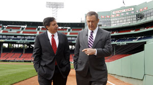 Charlie Gibson at Fenway Park with Tom Werner (Red Sox Chairman)