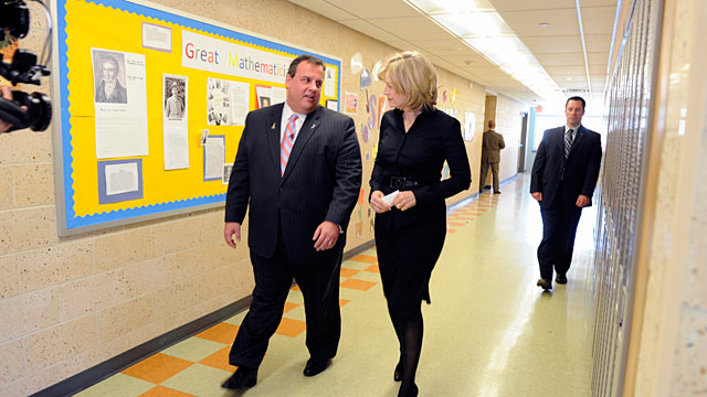PHOTO: Diane Sawyer and Governor Christie at Lincoln Elementary School in Kearney, NJ, April 6, 2011. Gov. Christie had a question/answer session with a first grade and an 8th grade class before sitting down with Sawyer for an interview.