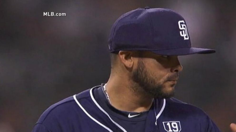 Padres Pitcher First to Use Protective Baseball Cap - ABC News e5f589d7767