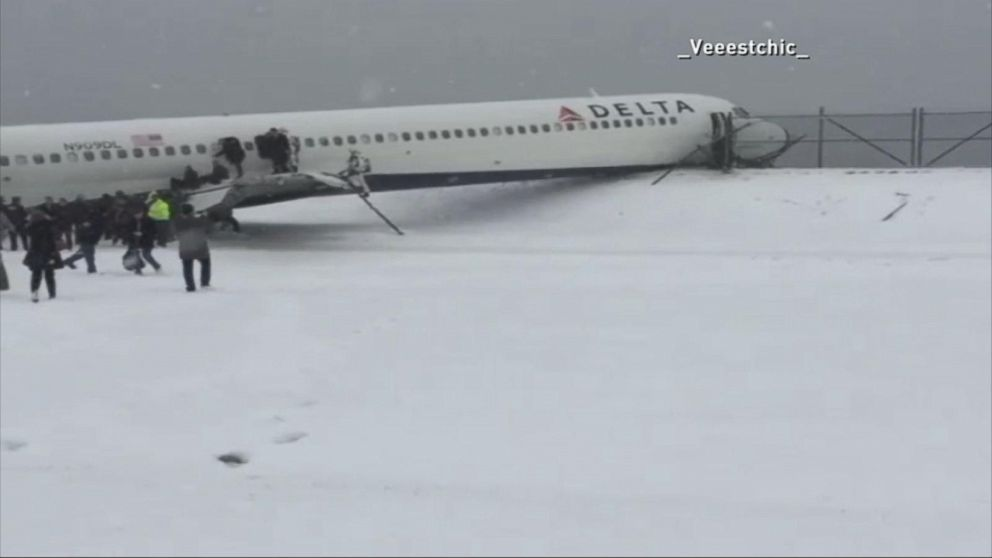 Delta Airlines Plane Skids Off Runway at LaGuardia Airport in New York