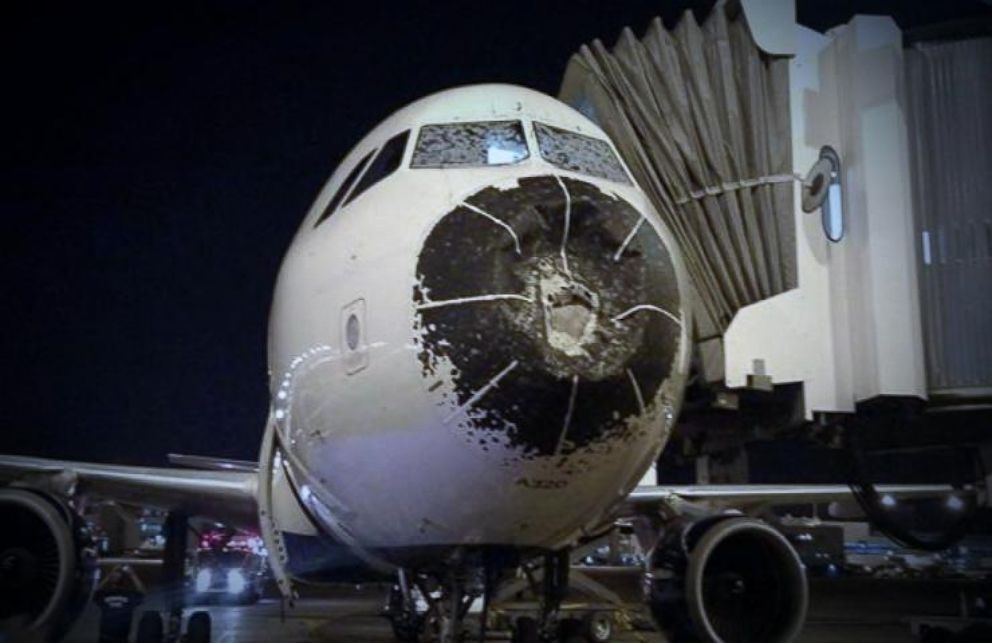 Scare For Passengers On Delta Plane When They Hit A Hail