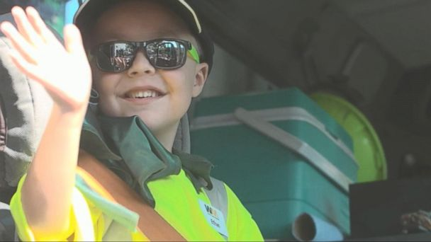 Make-A-Wish Foundation Fulfills Little Boy's Dream to Be a Garbage Man