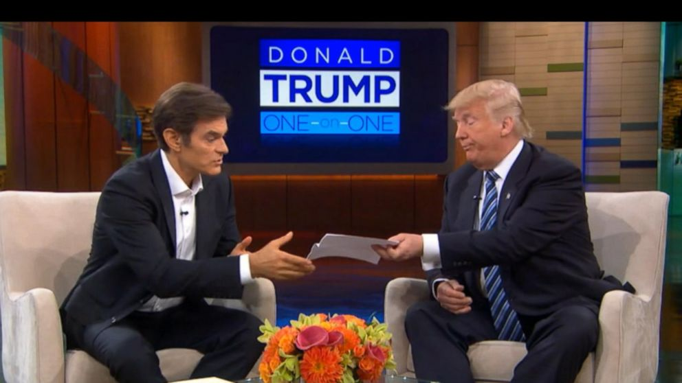 donald trump releases medical information on dr oz show