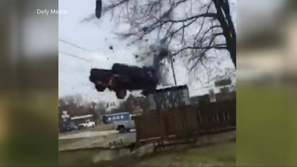 Police chase ends with car flying through the air