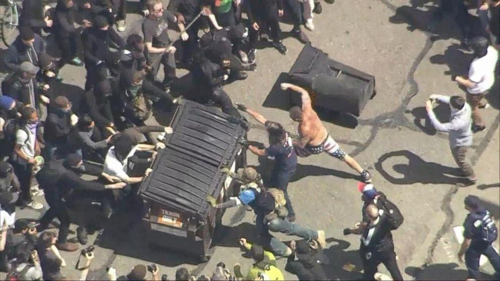 Pro- and anti-Trump protesters clash in Berkeley, CA Video