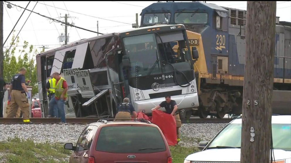 Cellphone video captures train slamming into truck stuck on track