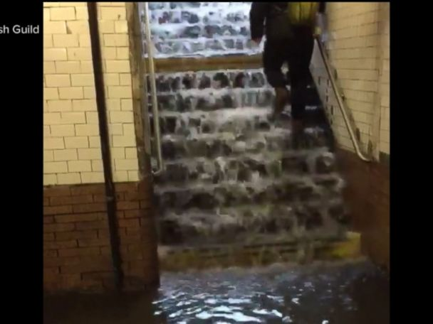 WATCH:  Spring storm floods subway stairwells and platforms in New York City