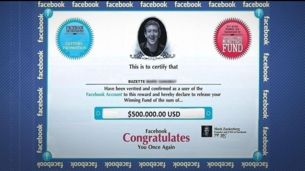 facebook sweepstakes scams new warning about lottery scam on facebook video abc news 1627