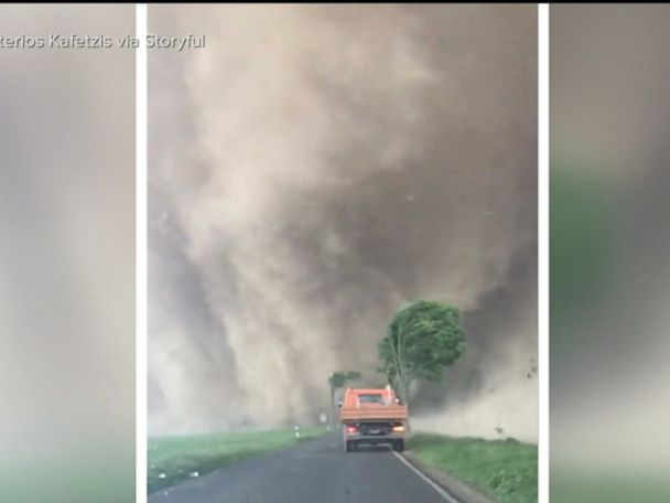 WATCH:  Dashcam video captures tornado touching down in Germany
