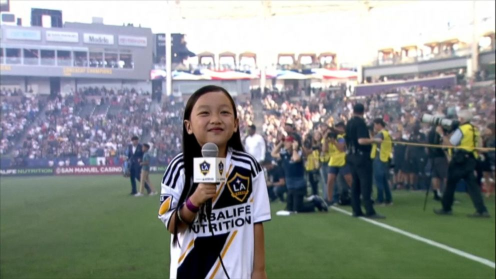7-year-old sings national anthem before packed MLS crowd Video - ABC News