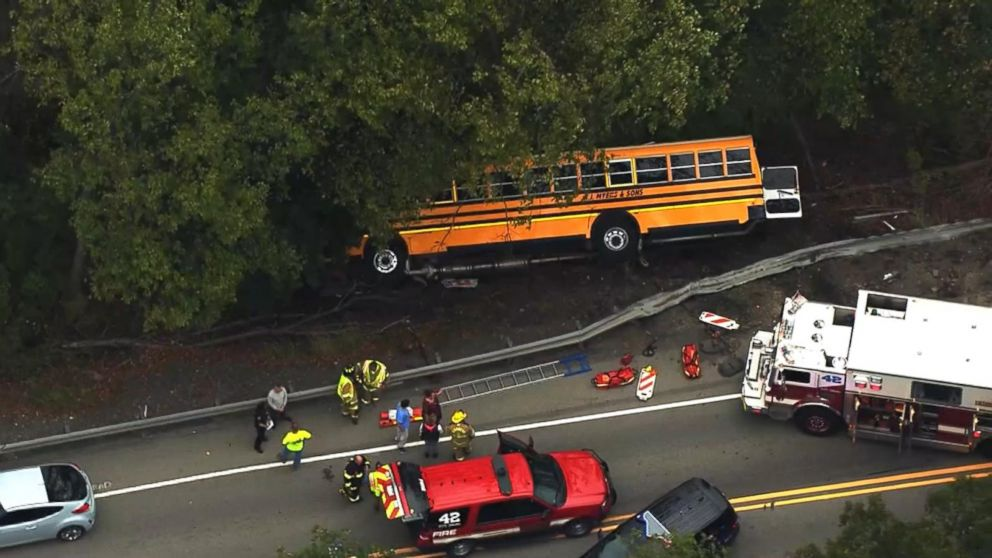 Students treated for minor injuries after school bus crash Video - ABC News