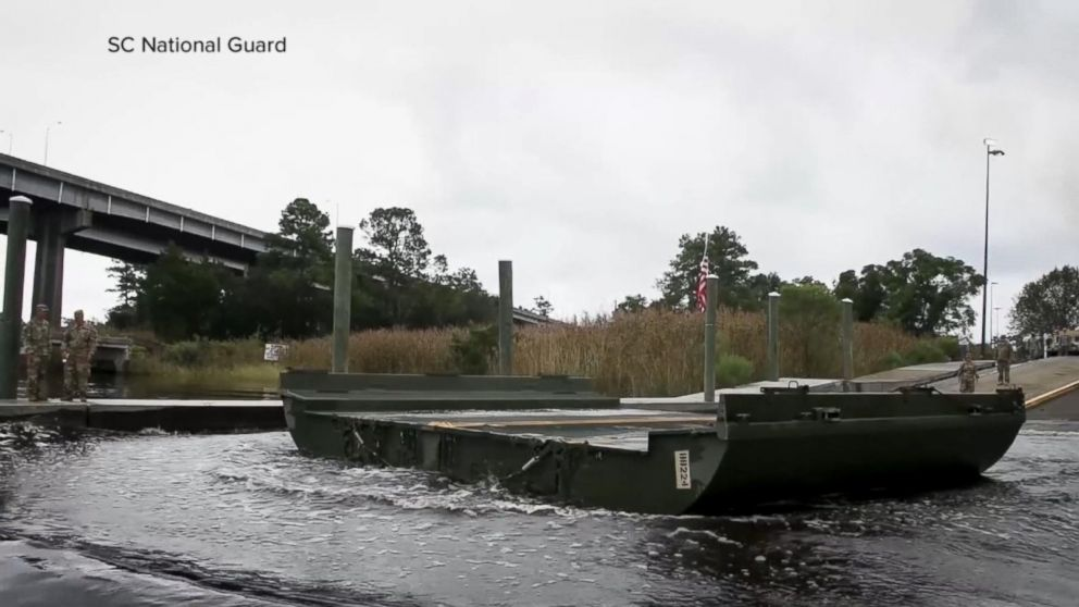 National Guard building floating bridge over floodwaters in SC Video - ABC News