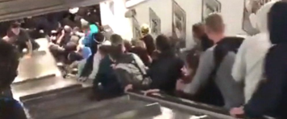 The victims, many of them Russian soccer fans on the way to a match, were seen tumbling down the stairs.