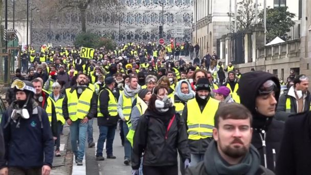 Thousands of the protesters have taken to the streets in Paris