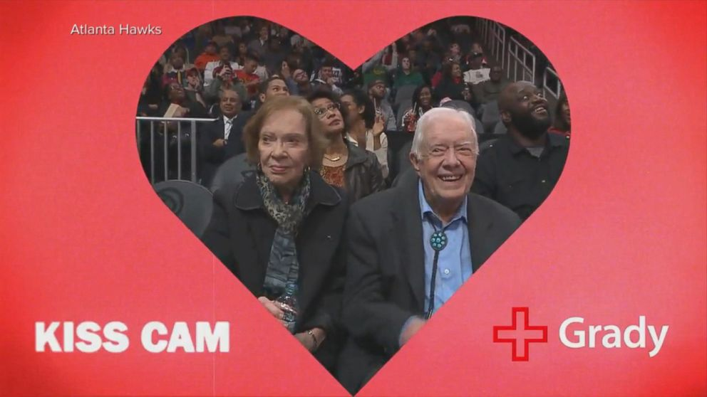 Jimmy and Rosalynn Carter captured on kiss cam
