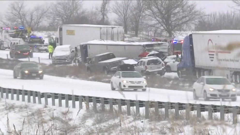 WATCH:  47 vehicles crashed in a pileup due to a snowstorm east of Kansas City