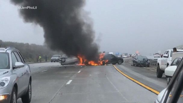 Up to 30 vehicles crashed in a multi-vehicle accident in Los Angeles County, Calif.