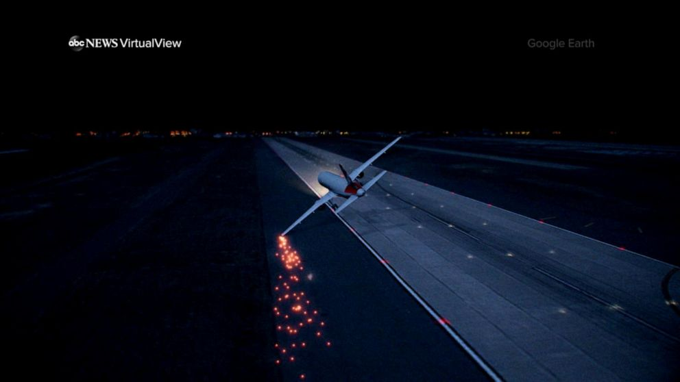 Airline probing incident in which jet wing hit lights on runway during takeoff
