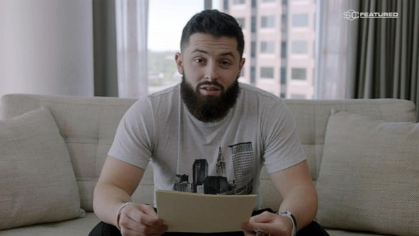 Rising NFL star reading a letter to his mom