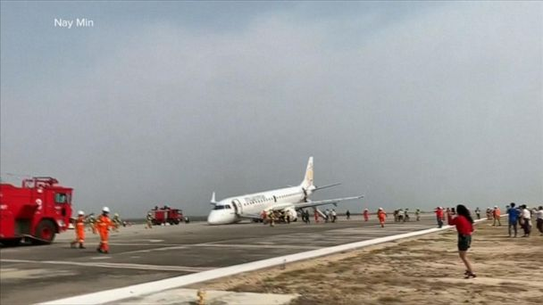 Passenger jet in Myanmar forced to land without its nose gear