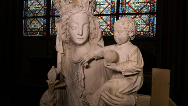 Exclusive look at the statue of the Virgin Mary in Notre Dame Cathedral