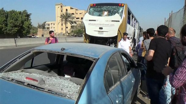 A bomb targeting a tour bus near Egypt's famed pyramids exploded