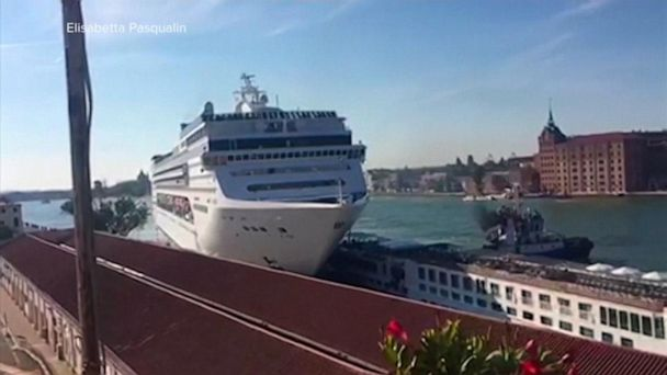 A massive luxury cruise ship crashed into a dock in Venice, Italy