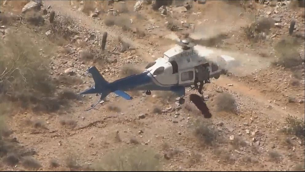 Video captures dizzying hiker rescue from Phoenix mountain