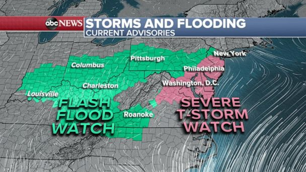 Heavy rain and flash flooding spreads across the country