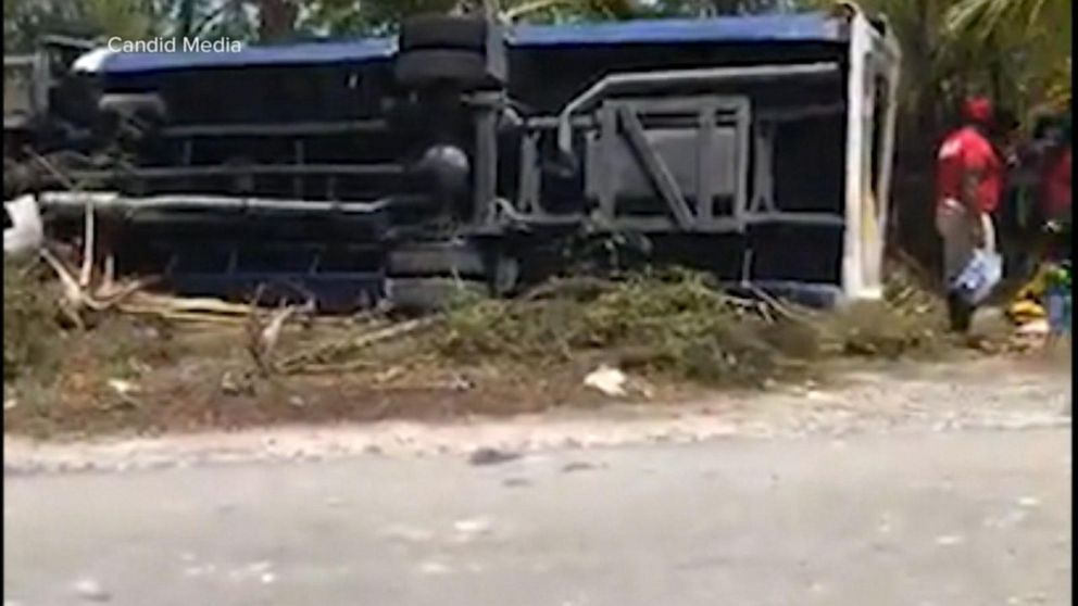 At least 26 injured after tour bus in the Bahamas flips over