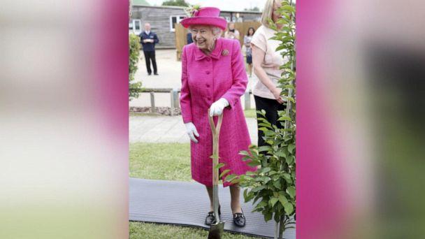 Queen Elizabeth helps during tree-planting ceremony
