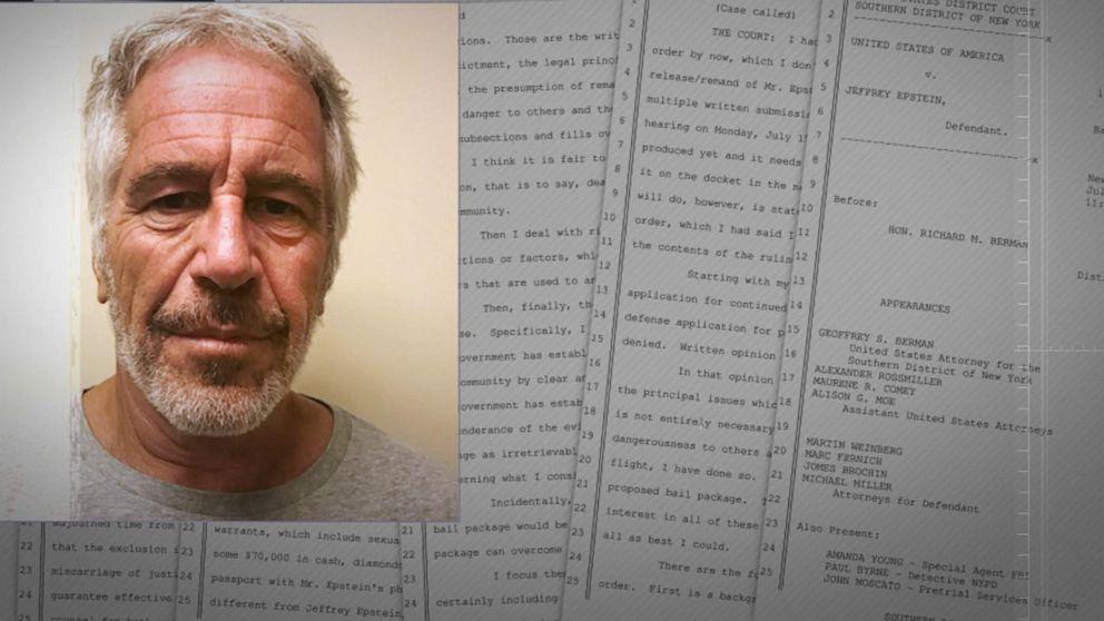 Judge denies Jeffrey Epstein bail, calls him 'danger to community'
