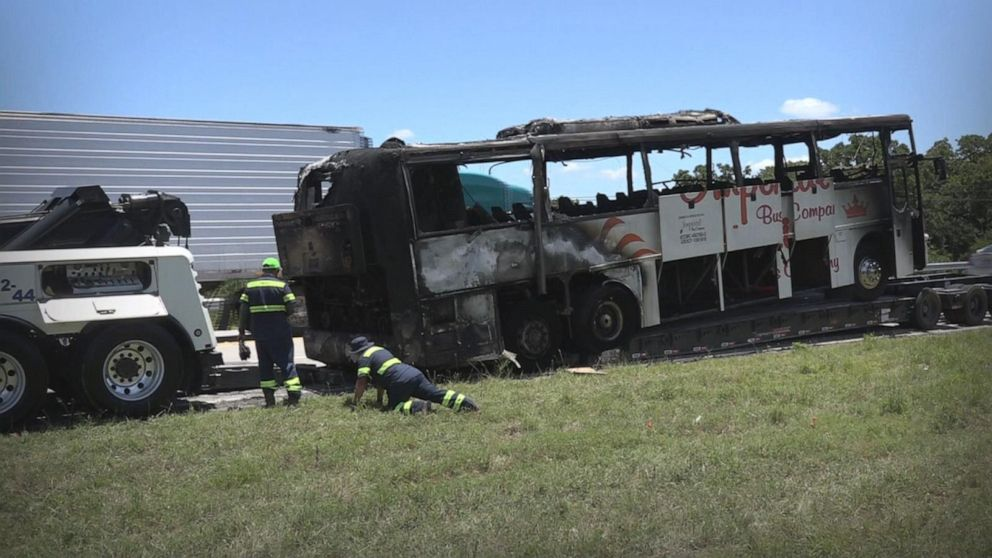 Video shows terrifying moment as children escape burning charter bus