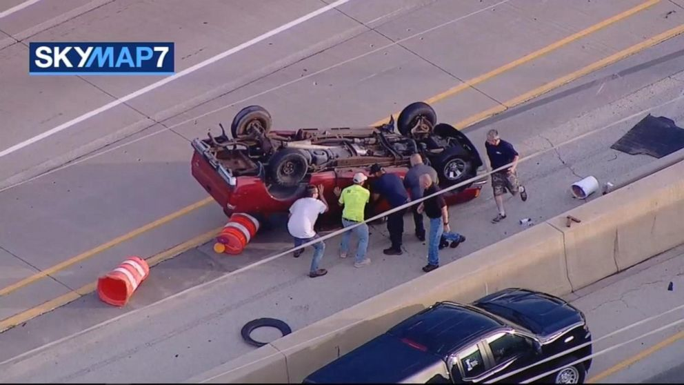 Good Samaritans rescue driver of overturned pickup truck in Illinois