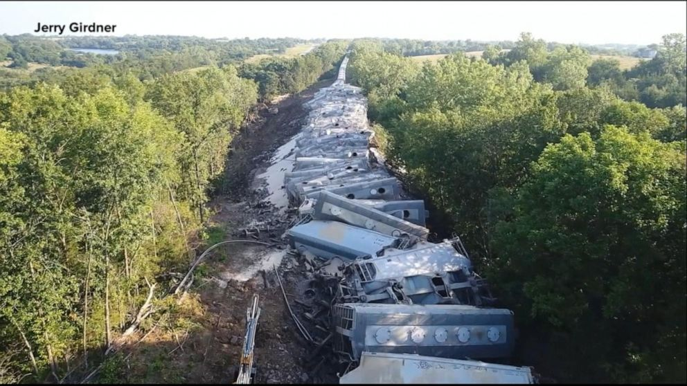 Train derailment in Missouri causes 70 cars to fall off tracks