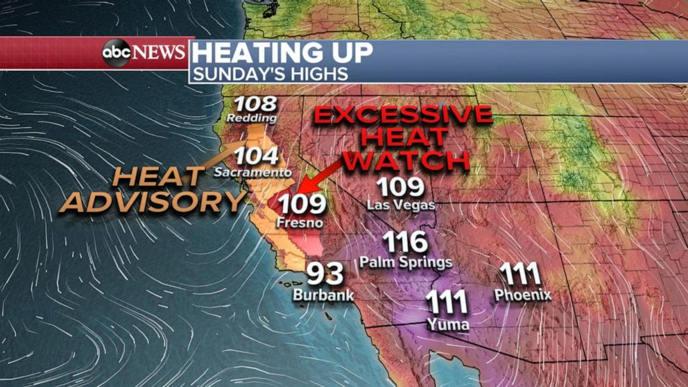Heat advisories up in California as 40-plus wildfires blaze across the West