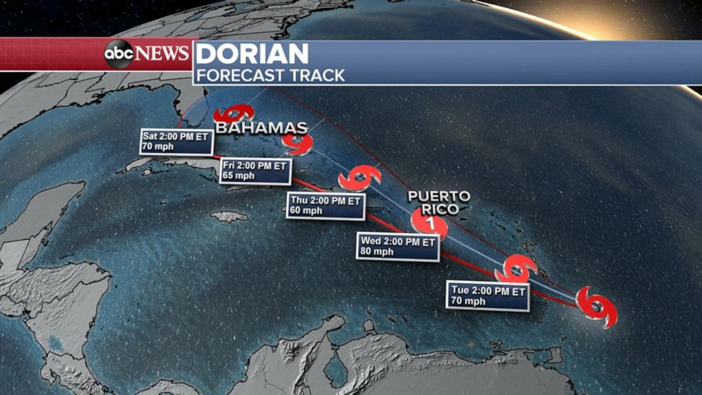 Tropical Storm Dorian forecast to become hurricane later